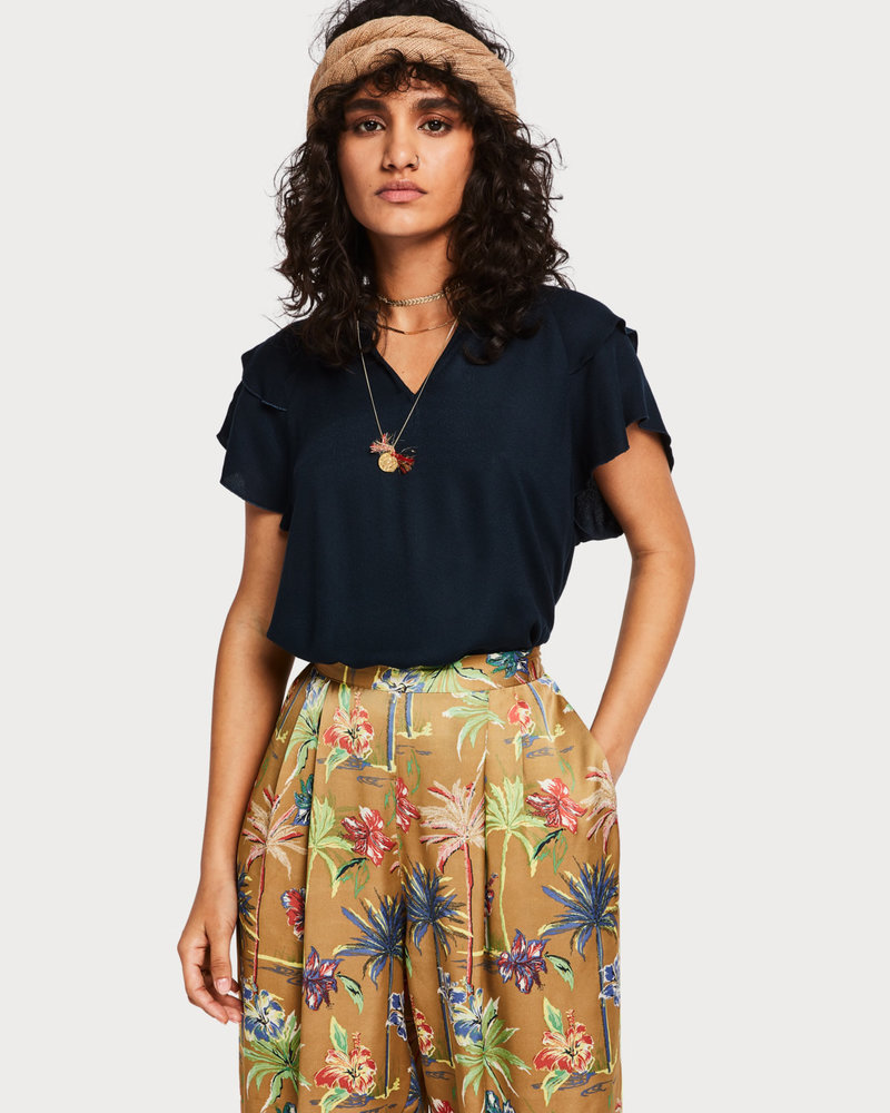 SCOTCH & SODA 149820 rayon top with sporty rib and ruffle sleeves 02