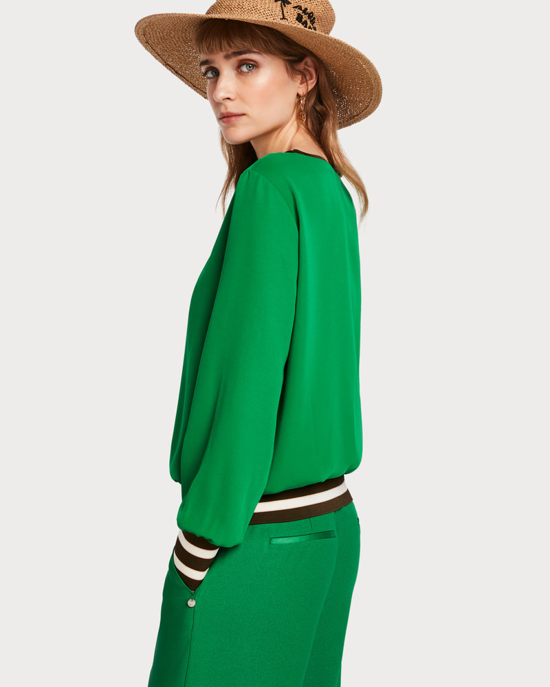 SCOTCH & SODA 151046 long sleeve top with high ribbed cuffs and hem