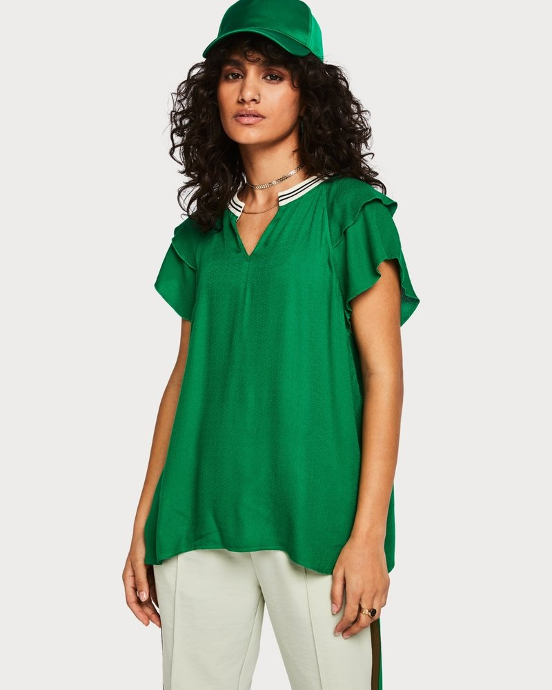 SCOTCH & SODA 149820 rayon top with sporty rib and ruffle sleeves 0530