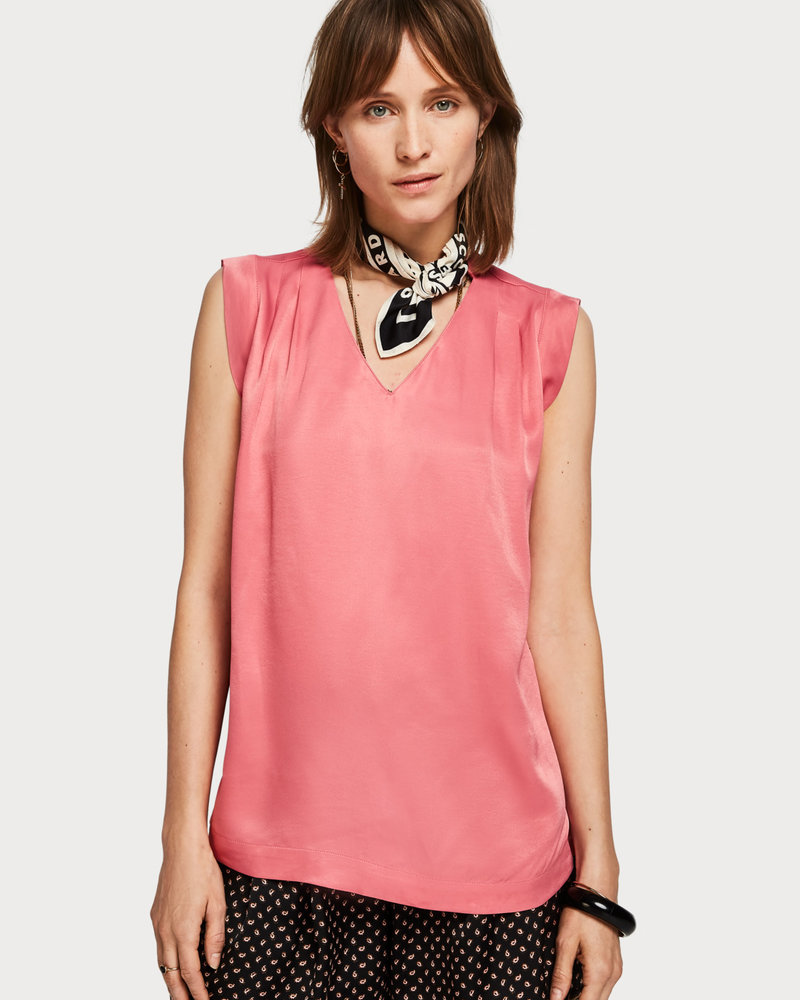 SCOTCH & SODA 151153 pleated sleeveless top in viscose quality