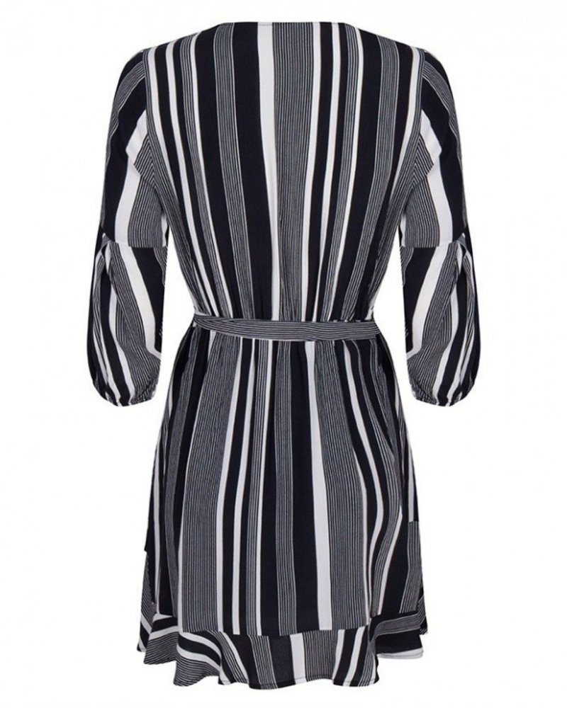 ESQUALO HS19.14223 Dress ruffle stripe