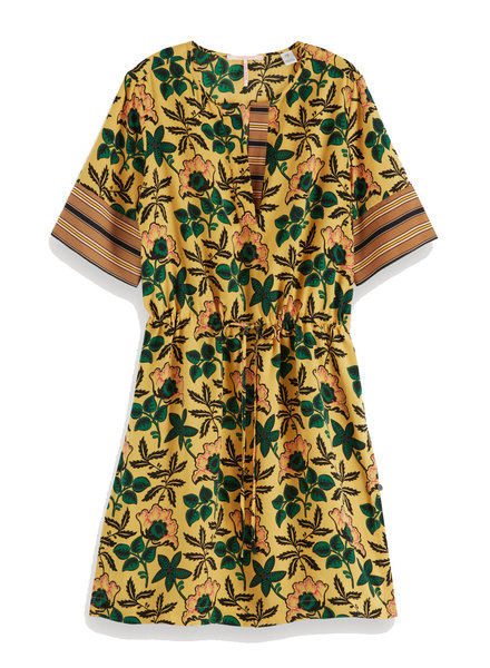 SCOTCH & SODA 149839 mixed print dress with waist drawcord
