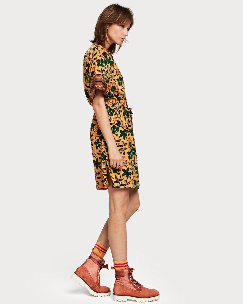 SCOTCH & SODA 149839 mixed print dress with waist drawcord