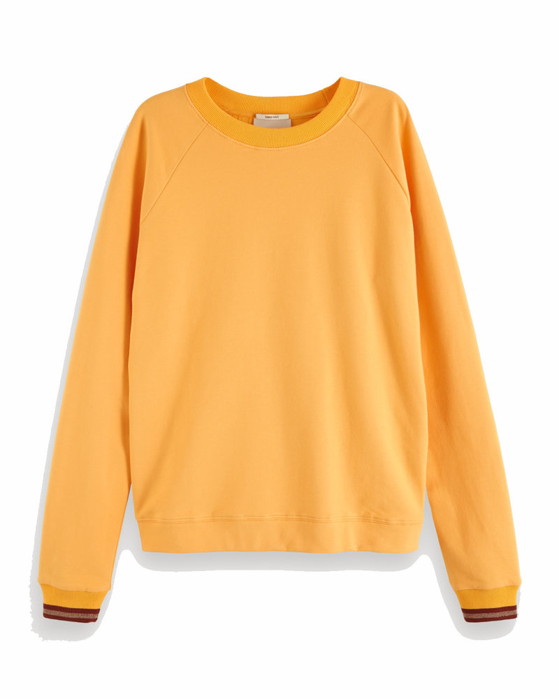 SCOTCH & SODA 151102 crewneck sweat with woven backpanel