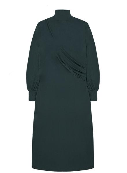 10 FEET 840069 2212-Petrol midi length dress w/drapy waist detail in faux cupro jersey