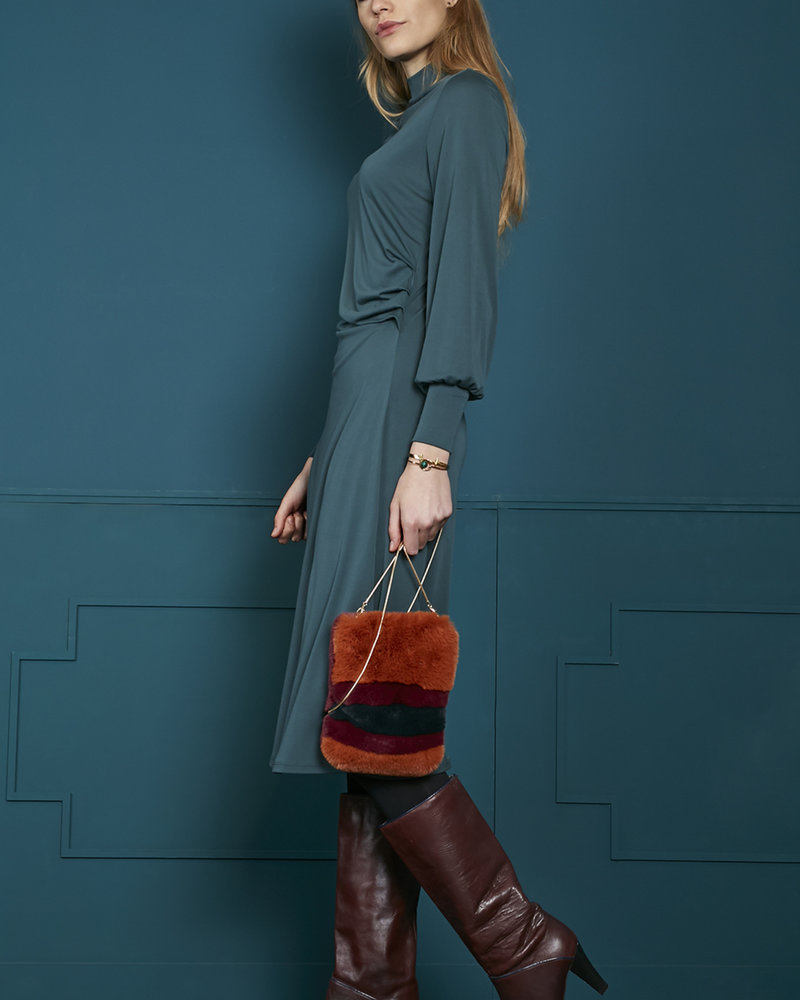 840069 2212-Petrol midi length dress w/drapy waist detail in faux cupro jersey