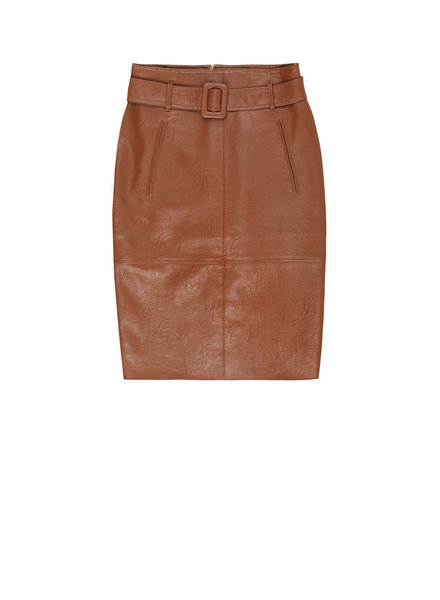10 FEET 840066 7714-Cognac knee length faux leather skirt w/selffabric belt and pockets