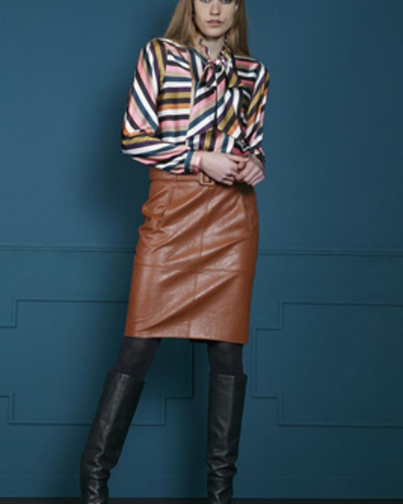 10 FEET 840066 7714-Cognac knee length faux leather skirt w/selffabric belt and pockets