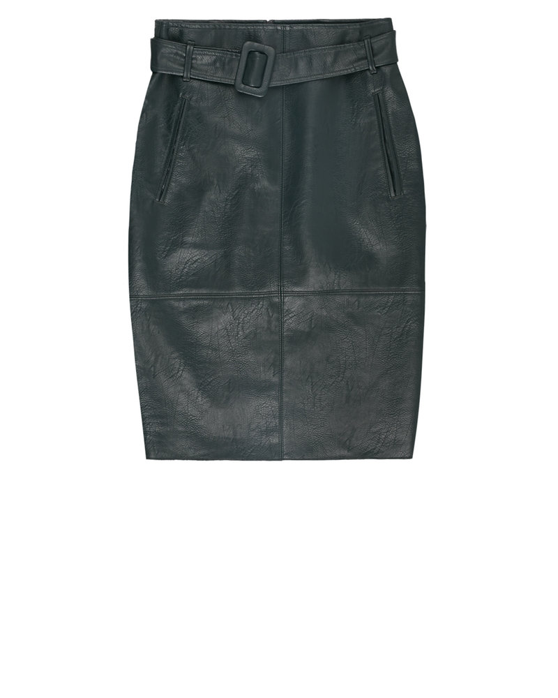 10 FEET 840066 3366-Deep forest knee length faux leather skirt w/selffabric belt and pockets