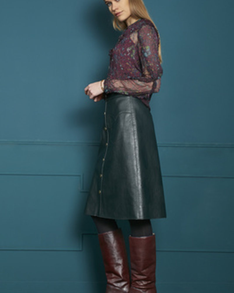 10 FEET 840061 3366-Deep forest western inspired midi length faux leather skirt