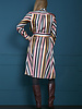 10 FEET 840047 1200-Multi colour over the knee multi colour striped dress with collar