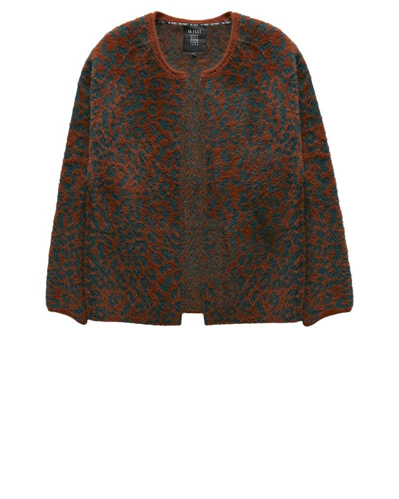 840013 7714-Cognac animal jacquard fur knit cardigan