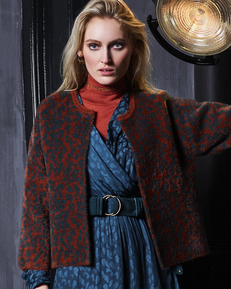 10 FEET 840013 7714-Cognac animal jacquard fur knit cardigan