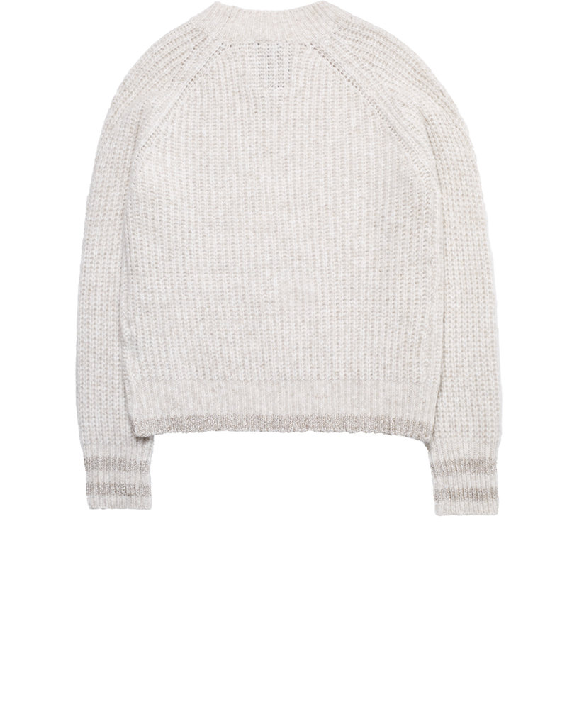 10 FEET 840011 0258-Beige mele light weight cable knit pullover w/subtle lurex stripes cuff