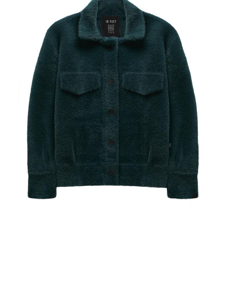 10 FEET 840002 2211-Dark Petrol Faux fur knit jacket