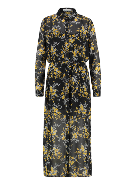 FREEBIRD Harper flower long sleeve button up flower maxi dress black/yellow