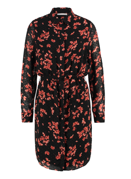 FREEBIRD Amina flower long sleeve button up flower mini dress black/coral