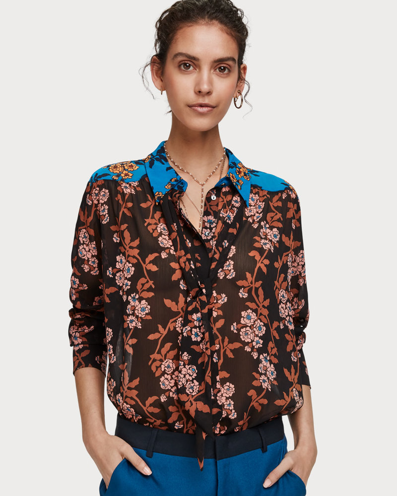 SCOTCH & SODA 152454 22 Mixed print shirt with tie detail