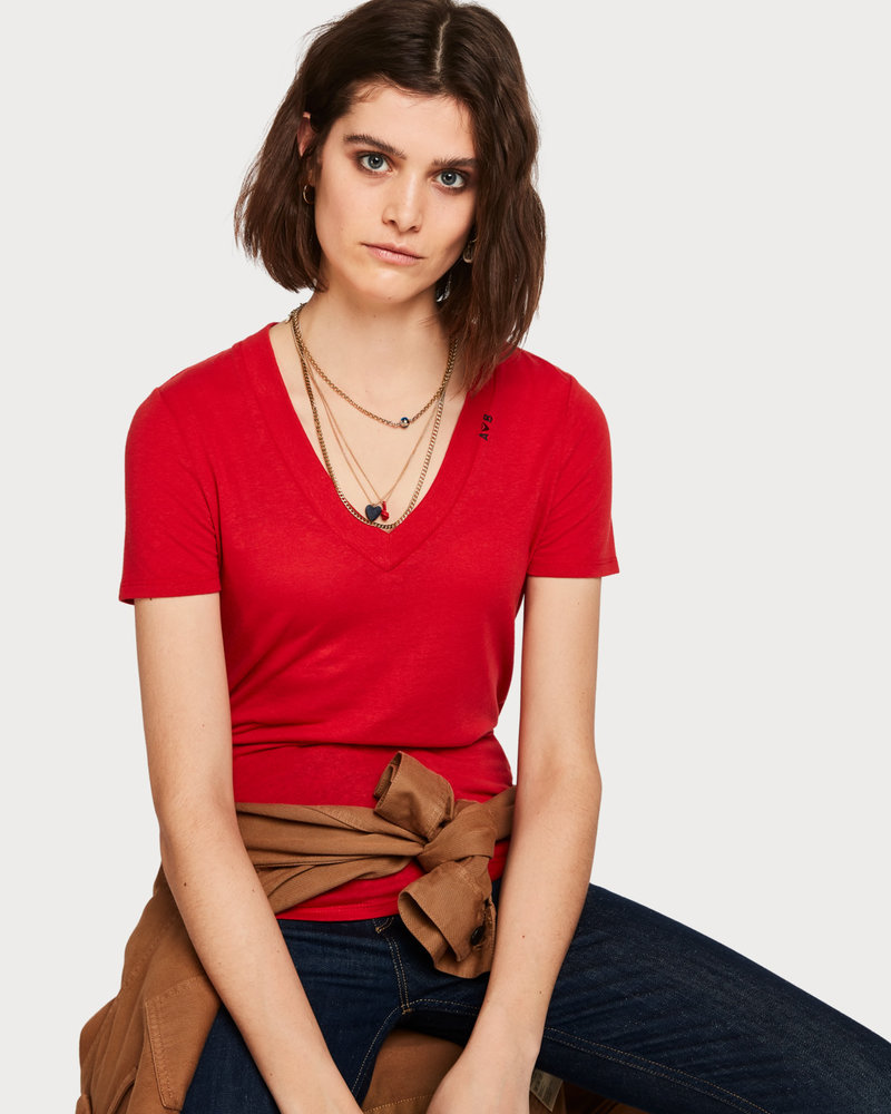 Scotch&Soda 150706 Feminine tee with deep V neck in linen mix quality 2922