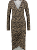 FREEBIRD Kelly leopard long sleeve leopard jersey midi dress brown
