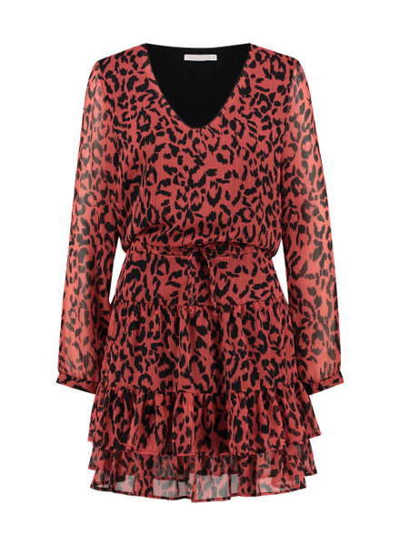 FREEBIRD Georgia leopard long sleeve leopard mini dress coral