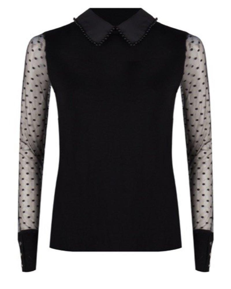 ESQUALO F19.07507 Sweater lace sleeves Black