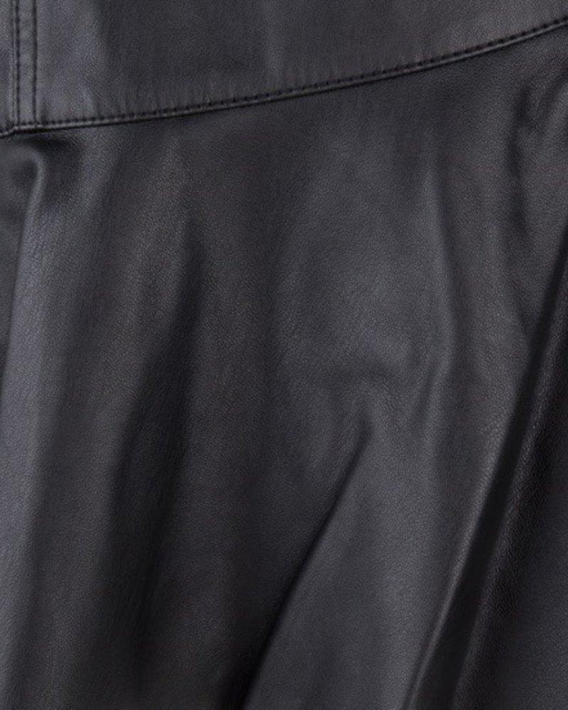 ESQUALO F19.04502 Skirt PU ruffle Black