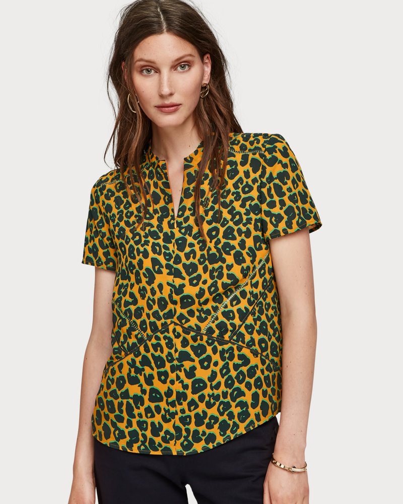 SCOTCH & SODA 152491 91 Short sleeve printed top with ladder tape details