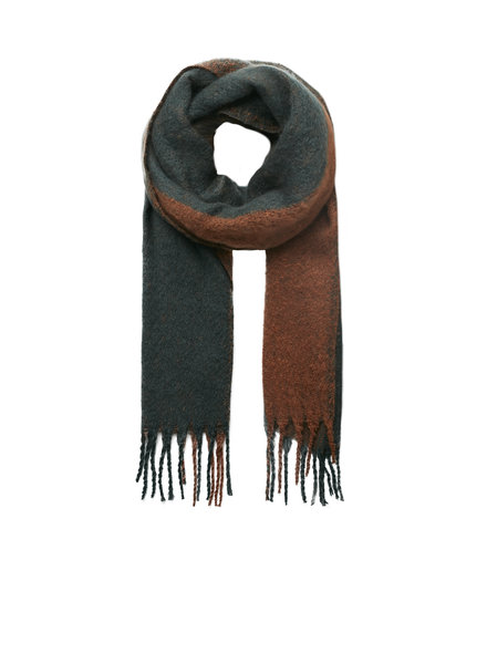 10 FEET 840072 7715-Cognac/petrol chunky colour blocking scarf with fringes