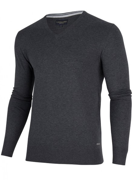 CAVALLARO 1895014 Tomasso V-Neck Pullover 83000 Dark Grey