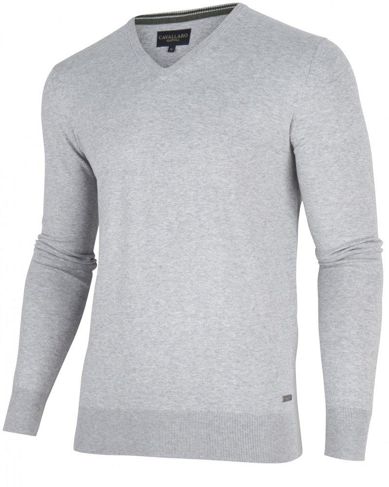 CAVALLARO 1895014 Tomasso V-Neck Pullover 82000 Mid Grey