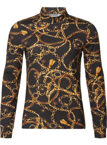 GEISHA 93676-20 Jersey top LS col AOP chain black/mustard combi