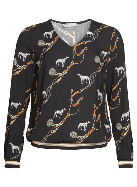 GEISHA 93646-20 Top V-neck AOP dogs & chains black combi