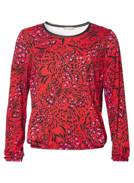 GEISHA 93516-40 T-shirt round neck LS AOP red/fuchsia/black