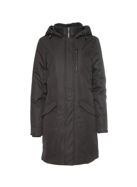 GEISHA 98547-12 Long jacket with hood & rib collar black