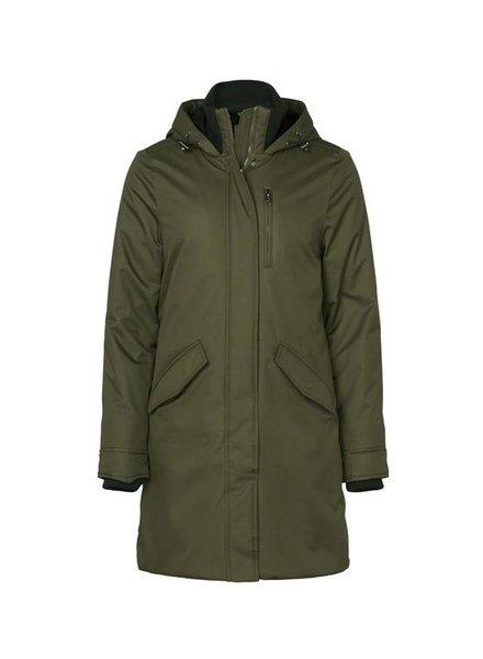GEISHA 98547-12 Long jacket with hood & rib collar army