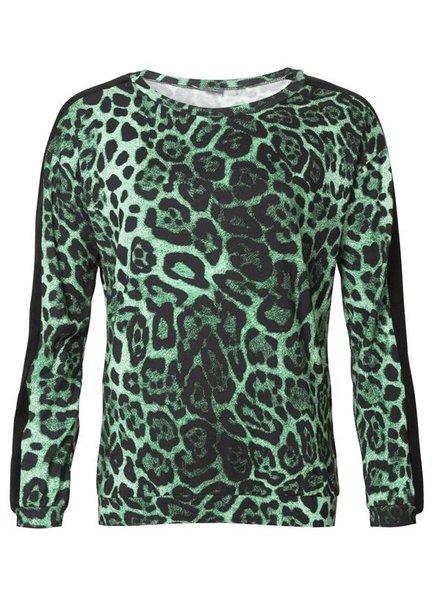 GEISHA 93647-20 Top round neck AOP with velvet tape green combi