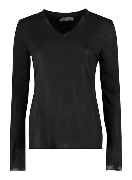GEISHA 92506-40 T-shirt solid LS V-neck black