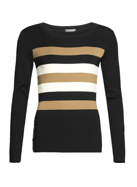 GEISHA 94519-10 Pullover round neck with stripes black/camel/offwhite