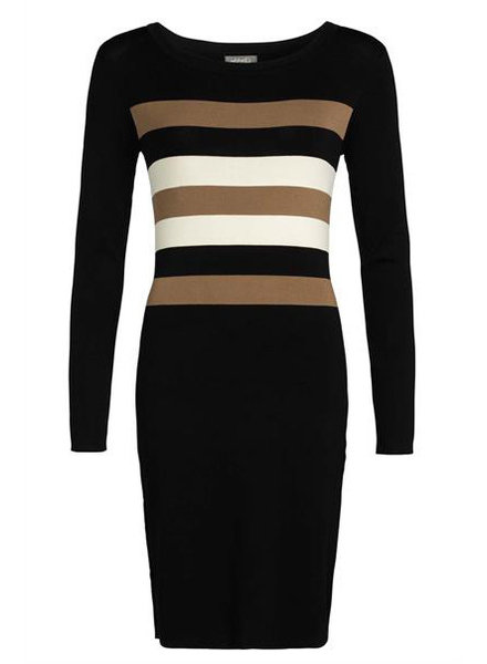 GEISHA 97516-10 Dress knitted with stripes black/camel/offwhite