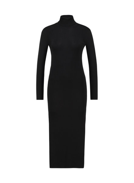 FREEBIRD Britney black long sleeve turtle neck knitted midi dress black
