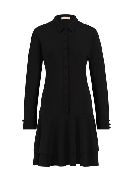 FREEBIRD Dolly long black long sleeve ruffle blouse mini dress black