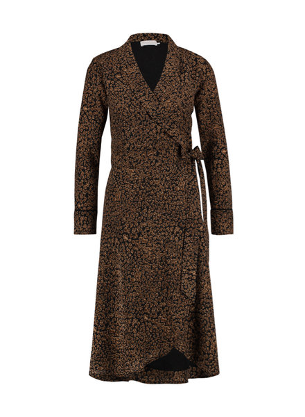 FREEBIRD Isaya leopard long sleeve leopard kimono midi dress black/brown