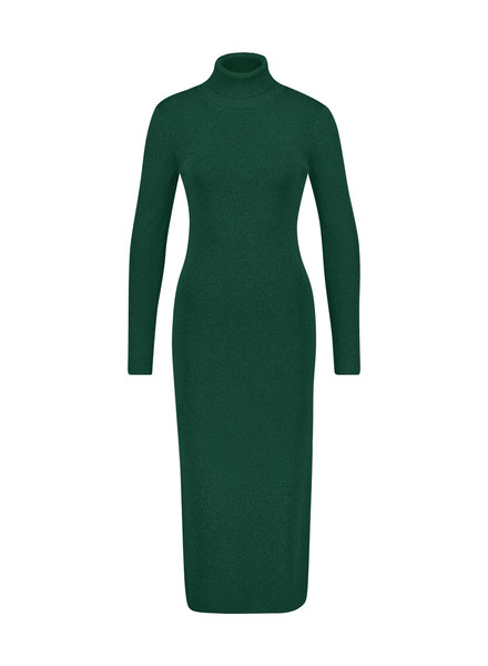 FREEBIRD Britney green long sleeve turtle neck knitted midi dress green