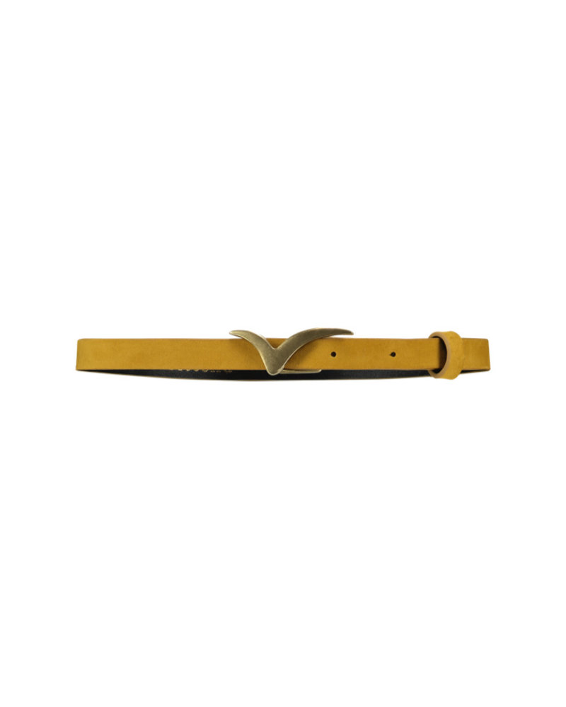 FREEBIRD Logo belt small velvet small velvet logo belt bird oker yellow