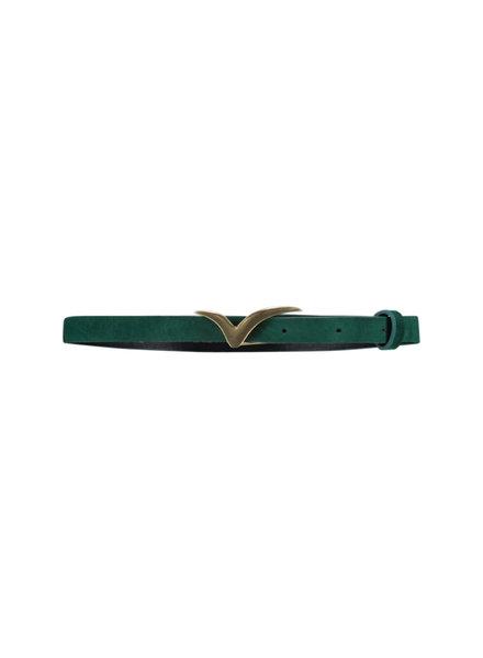 FREEBIRD Logo belt small velvet small velvet logo belt bird green