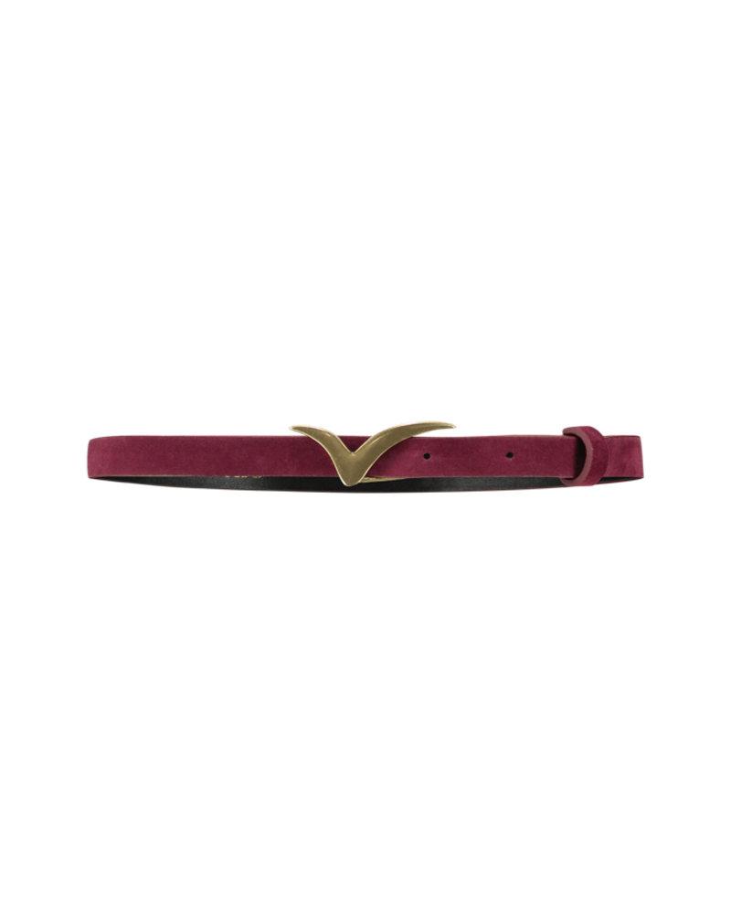 FREEBIRD Logo belt small velvet small velvet logo belt bird burgundy