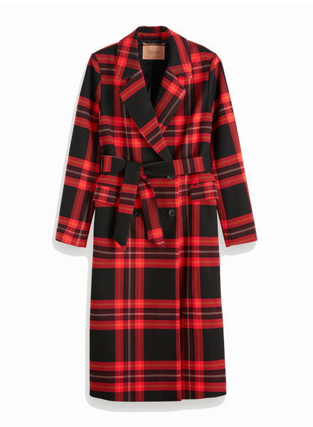 SCOTCH & SODA 152701 0590 Long checked jacket with shell fabric belt
