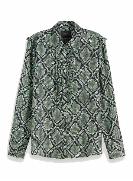 SCOTCH & SODA 152474 0597 Printed shirt with ruffle detail