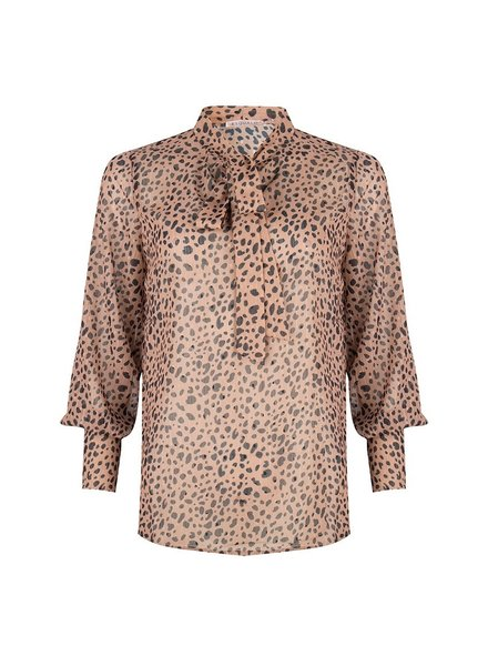 ESQUALO W19.32701 BLOUSE LEOPARD LUREX BOW BROWN